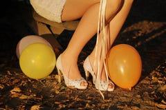 Zapatos blancos para casarse Fotografía de archivo libre de regalías