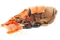 Zapatos, bolso y bufanda Imágenes de archivo libres de regalías