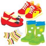 Zapatos, calcetines, gumboots, cargadores del programa inicial Imágenes de archivo libres de regalías