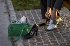 Zapatos cambiantes Imágenes de archivo libres de regalías