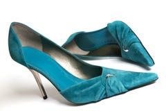 Zapatos ciánicos de las mujeres Foto de archivo