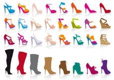 Zapatos coloridos, conjunto del vector Imagen de archivo
