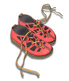 Zapatos con las zapatillas de deporte corrientes coloridas brillantes Aislado en el fondo blanco Fotografía de archivo libre de regalías