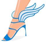Zapatos cons alas de la mujer Fotos de archivo libres de regalías
