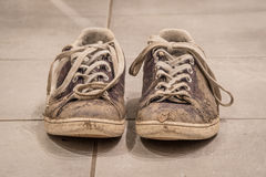 Zapatos cubiertos con fango Fotos de archivo