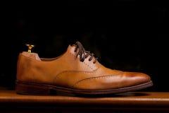 Zapatos de alineada de Tan fotografía de archivo libre de regalías