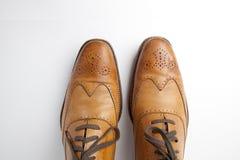 Zapatos de alineada del Mens de Tan foto de archivo