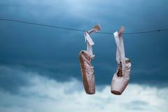 Zapatos de ballet de la danza Foto de archivo libre de regalías