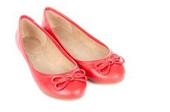 Zapatos de ballet rojos aislados en #2 blanco Foto de archivo libre de regalías