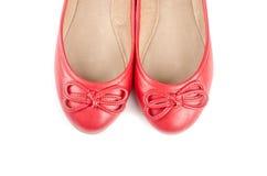 Zapatos de ballet rojos aislados en #3 blanco Imagen de archivo libre de regalías
