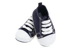 Zapatos de bebé azules del dril de algodón Fotografía de archivo