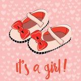 Zapatos de bebé lindos para la muchacha recién nacida Él ` s una invitación de la muchacha para un partido Ejemplo del vector en  Imagenes de archivo