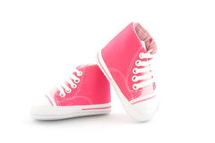 Zapatos de bebé rosados imagen de archivo libre de regalías
