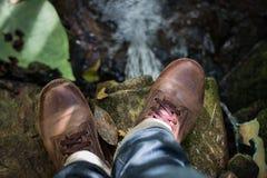 Zapatos de cuero de Brown imagen de archivo