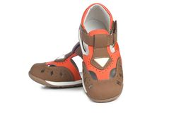 Zapatos de cuero de cabritos. Imagenes de archivo