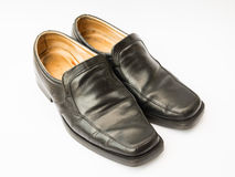 Zapatos de cuero de los hombres aislados en blanco Foto de archivo libre de regalías