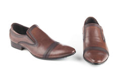Zapatos de cuero del color de Brown foto de archivo libre de regalías