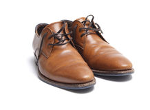 Zapatos de cuero del mens de Brown foto de archivo libre de regalías