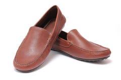 Zapatos de cuero marrones ocasionales de lujo Imagenes de archivo