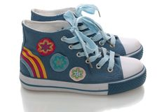 Zapatos de gimnasia, aislados. Imagenes de archivo