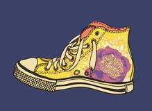 Zapatos de gimnasio del modelo ilustración del vector