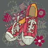 Zapatos de gimnasio del modelo Imagenes de archivo