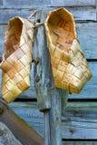 zapatos de la corteza de abedul Imagen de archivo