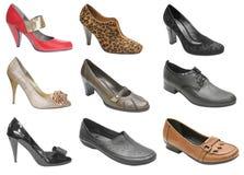 Zapatos de la mujer aislados en blanco Foto de archivo libre de regalías