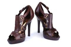 Zapatos de la mujer de Brown Imagenes de archivo