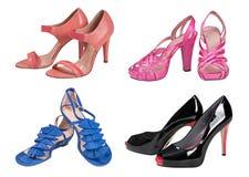 Zapatos de la mujer fijados Imagenes de archivo
