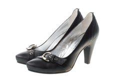 Zapatos de la mujer negra con las pequeñas correas Fotos de archivo libres de regalías