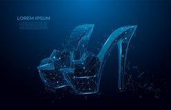 Zapatos de la mujer Zapato femenino poligonal del tacón alto del extracto en fondo azul marino Concepto de las compras Complement libre illustration