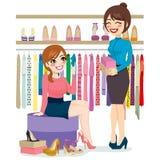 Zapatos de las compras de la mujer ilustración del vector