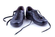 Zapatos de los hombres de cuero negros Imágenes de archivo libres de regalías