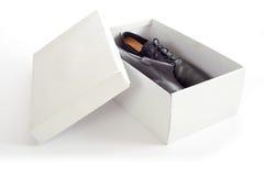 Zapatos de los hombres en rectángulo Fotos de archivo libres de regalías