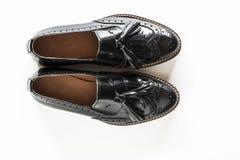Zapatos de moda negros femeninos Imágenes de archivo libres de regalías