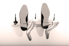 Zapatos de novia y del novio Imagen de archivo libre de regalías