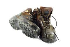 Zapatos de seguridad usados. Imagen de archivo