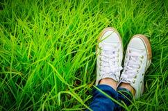 Zapatos de una mujer que se está sentando en campo de hierba Foto de archivo libre de regalías