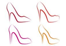 Zapatos del alto talón, conjunto del vector Imagenes de archivo
