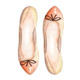 Zapatos del ballet de las mujeres marrones del ejemplo con un arco Pintado a mano en una acuarela en un fondo blanco ilustración del vector