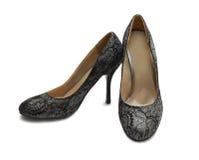Zapatos del brocado de plata Fotos de archivo libres de regalías
