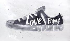 Zapatos del deporte del cartel Fotos de archivo libres de regalías
