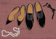 Zapatos del estilete y de los hombres de cuero negros Imagen de archivo libre de regalías