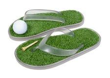 Zapatos del golf con la hierba Fotografía de archivo libre de regalías