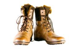 Zapatos del invierno de Brown Imagenes de archivo