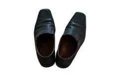 Zapatos del negro del ` s de los hombres en aislado Imagen de archivo