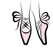 Zapatos del pointe de la acuarela con el arco de la cinta ISO dibujada mano del trabajo de arte Imágenes de archivo libres de regalías