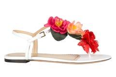 Zapatos Zapatos del ` s de las mujeres en un fondo blanco calzado superior Zapatos calificados italiano Imagen de archivo