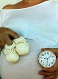 Zapatos del ` s del bebé, vientre embarazada y reloj que hace tictac fotos de archivo